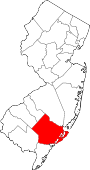 Map of New Jersey showing Atlantic County