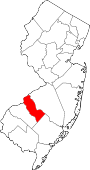 Map of New Jersey showing Camden County