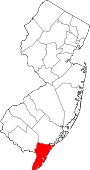 Map of New Jersey showing Cape May County