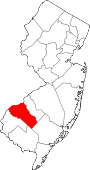 Map of New Jersey showing Gloucester County