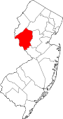 Map of New Jersey showing Hunterdon County