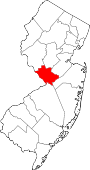 Map of New Jersey showing Mercer County