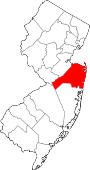 Map of New Jersey showing Monmouth County