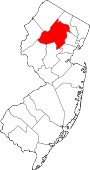 Map of New Jersey showing Morris County