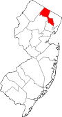 Map of New Jersey showing Passaic County
