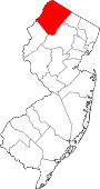 Map of New Jersey showing Sussex County