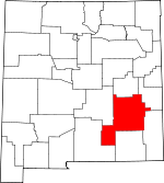 Map of New Mexico showing Chaves County