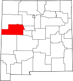 Map of New Mexico showing Cibola County