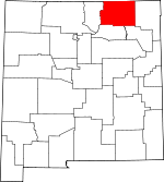 Map of New Mexico showing Colfax County