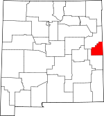Map of New Mexico showing Curry County