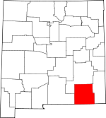 Map of New Mexico showing Eddy County