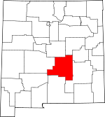 Map of New Mexico showing Lincoln County