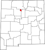 Map of New Mexico showing Los Alamos County