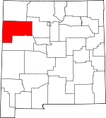 Map of New Mexico showing McKinley County