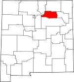 Map of New Mexico showing Mora County