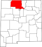 Map of New Mexico showing Rio Arriba County