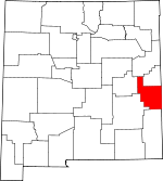 Map of New Mexico showing Roosevelt County