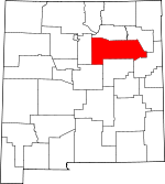 Map of New Mexico showing San Miguel County