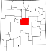 Map of New Mexico showing Torrance County