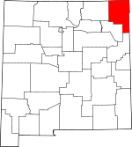 Map of New Mexico showing Union County