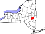 Map of New York showing Albany County