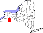 Map of New York showing Allegany County