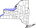 Map of New York showing Bronx County