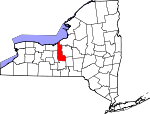 Map of New York showing Cayuga County