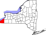 Map of New York showing Chautauqua County