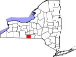 Map of New York showing Chemung County