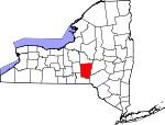 Map of New York showing Chenango County