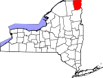 Map of New York showing Clinton County