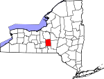 Map of New York showing Cortland County