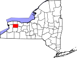 Map of New York showing Genesee County