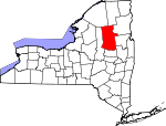 Map of New York showing Hamilton County