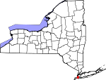 Map of New York showing Kings County