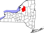 Map of New York showing Lewis County