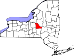 Map of New York showing Madison County