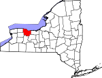 Map of New York showing Monroe County