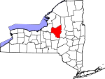 Map of New York showing Oneida County