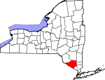 Map of New York showing Orange County