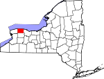 Map of New York showing Orleans County