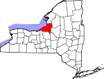 Map of New York showing Oswego County
