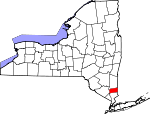 Map of New York showing Putnam County