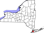 Map of New York showing Queens County
