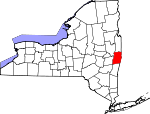 Map of New York showing Rensselaer County