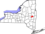 Map of New York showing Schenectady County