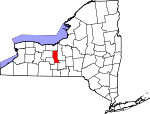 Map of New York showing Seneca County