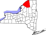 Map of New York showing St. Lawrence County