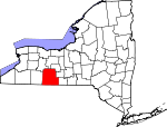Map of New York showing Steuben County